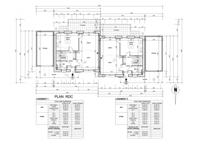 Habitat jumelés / Basse énergie / Ossature bois : plan rdc