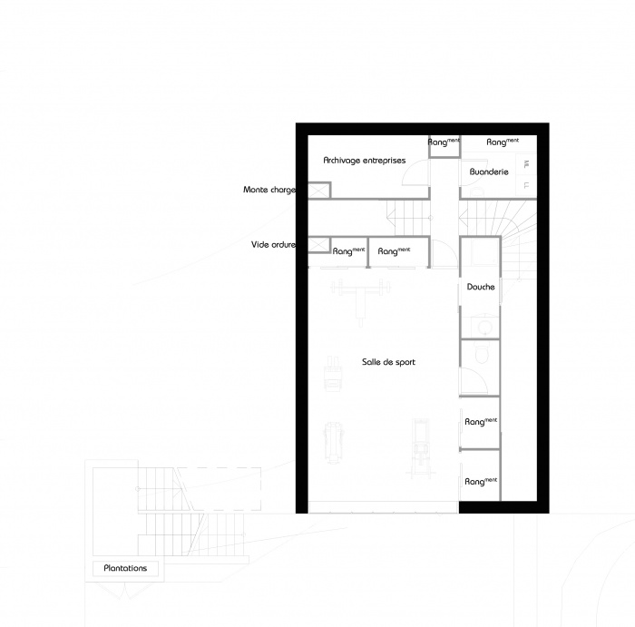 La maison belvédère : Plan Demi Niveau