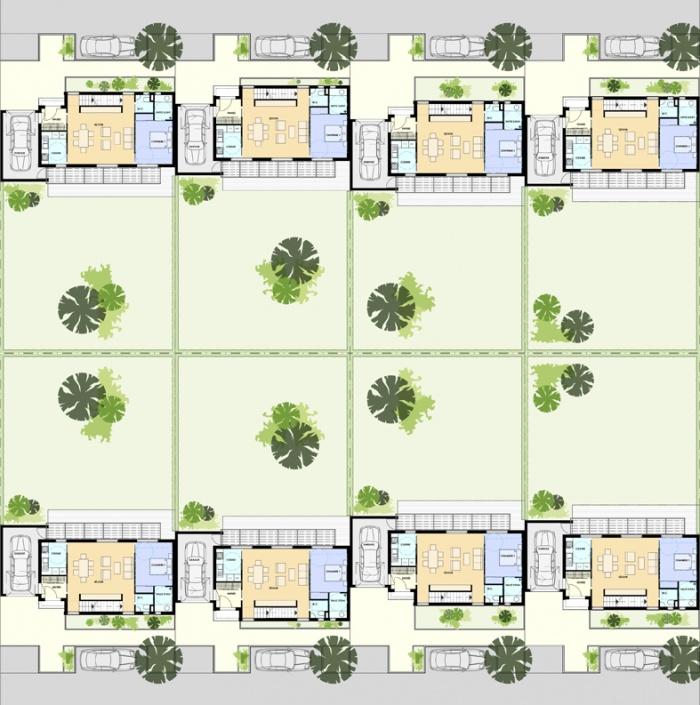 CONSTRUCTION DE 8 MAISONS INDIVIDUELLES GROUPÉES : VBZ8-PLANS-MASSE