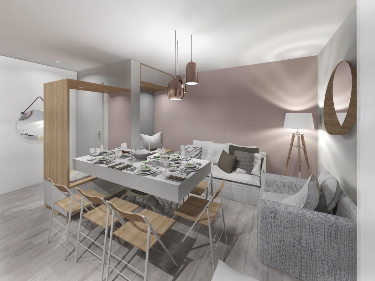 Rénovation d'un appartement de 65m² : salon table dépliée