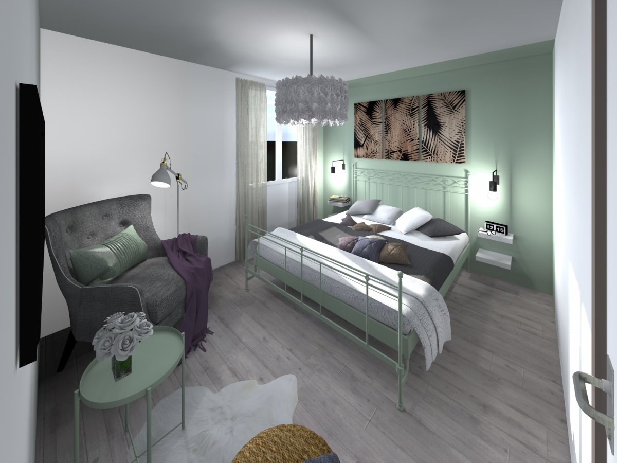 Rénovation d'un appartement de 65m² : 20-chambre verte